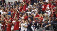 Houston Texans fans cheered on their team at a Cowboys home game in 2014. They were loud enough to interfere with the Cowboys' on-field play. (File Photo/Vernon Bryant)