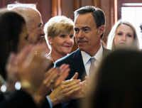 Rep. Joe Straus was unanimously elected speaker of the House on Tuesday, the first day of the 85th Texas Legislative Session.((Ashley Landis/Staff Photographer))
