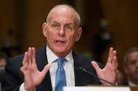 Retired Marine Gen. John Kelly testifies at his confirmation hearing to be secretary of homeland security on Tuesday. (AP/Cliff Owen)