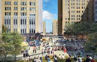 The plaza in front of AT&T's downtown buildings will be totally redone with new green space, restaurants, retail and art.(AT&T)