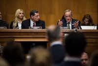 Democratic Sen. Tom Carper of Delaware questioned Scott Pruitt during his confirmation hearing Wednesday. (Gabriella Demczuk/The New York Times)