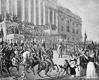 An artist's impression of President William Henry Harrison's March 4, 1841 inauguration in Washington.  Harrison declined the offer of a closed carriage and rode on horseback to the Capitol, braving cold temperatures and a northeast wind. After speaking for more than an hour, he returned to the White House on horseback, catching a chill that eventually turned to pneumonia. He died a month later.  (AP Photo/File)(AP)