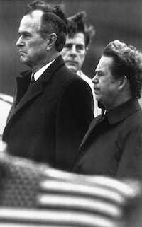 Bush stands with Czech President Vaclav Havel (right) in Prague in November 1990.(Associated Press)
