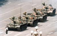 A Chinese man stands in front of a line of tanks in Beijing stopping their advance down Beijing's Cangan Boulevard, near Tiananmen Square, on June 5, 1989, during the crackdown on China's democracy movement.(Jeff Widener/Associated Press)