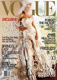 In this undated photo from Vogue, she models the voluminous strapless gown -- which took 550 hours of labor just to do the embroidery -- on the cover of Vogue's February issue. (AP Photo/Vogue, Mario Testino)