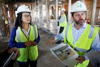 "<span style=""font-weight: normal;"">Natalie Leung, Blue Cross Blue Shield third-party consultant, and Kevin Cassidy, Blue Cross Blue Shield president of enterprise national accounts, speaks to the media during a tour of the Blue Cross Blue Shield C1 Innovation Lab at 603 Munger Avenue in Dallas on Thursday January 19, 2017.  (Andy Jacobsohn/The Dallas Morning News)</span>"