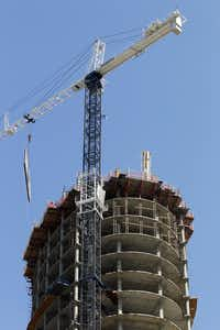 Museum Tower while under construction in downtown Dallas in 2011. (Tom Fox/The Dallas Morning News)