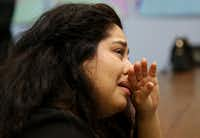 <p>During a watch event for Inauguration Day at the Dallas County Democratic Party headquarters in Dallas on Friday, Herlinda Resendiz cries as former President Barack Obama and former first lady Michelle Obama leave the U.S. Capitol.  (Andy Jacobsohn/The Dallas Morning News)</p>(Staff Photographer)