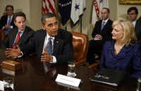 Cynthia Blankenship (right) met with President Barack Obama and former Treasury Secretary Timothy Geithner in 2009 when Congress boosted federal aid for small business loans. (Martin H. Simon-Pool/Getty Images)