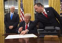 President Donald Trump signed confirmations for his first two Cabinet members, Defense Secretary James Mattis and Homeland Security Secretary John Kelly.(Getty Images)