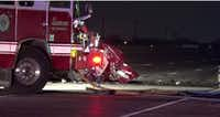 First responders rushed to the scene of a wrong-way crash on State Highway 114 in Southlake early Sunday.((Metro Video))