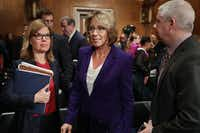 Betsy DeVos, President Donald Trump's pick for education secretary, attended her confirmation hearing in the Senate last week.(Getty Images)