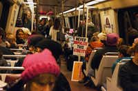 A Washington D.C. Metro car carrying protesters leaving the Women's March on D.C. Saturday January 21, 2017. (Courtesy Anna Hanks)