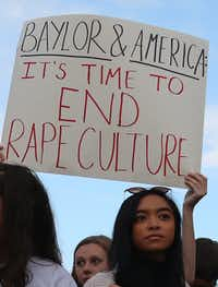 Baylor students rally in support of women on campus last fall.(Waco Tribune Herald)