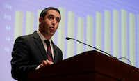 "<p>Texas Comptroller Glenn Hegar, shown delivering his revenue estimate earlier this month, is discouraging speculation that he'll give budget writers a little more money to work with. (<span style=""font-size: 1em; background-color: transparent;"">AP Photo/Eric Ga</span><wbr style=""font-size: 1em; background-color: transparent;""><span style=""font-size: 1em; background-color: transparent;"">y)</span></p>"