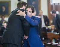 Sen. Kevin Eltife, R-Tyler (right), hugs Lt. Gov. Dan Patrick during the 2015 legislative session. Eltife retired that year. On Monday, Gov. Greg Abbott named him to the University of Texas System Board of Regents. (File 2015/The Dallas Morning News)(Staff Photographer)