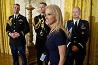 Kellyanne Conway, senior advisor to U.S. President Donald Trump, arrives to a swearing in ceremony of White House senior staff in the East Room of the White House in Washington, D.C., U.S., on Sunday, Jan. 22, 2017. (Bloomberg)