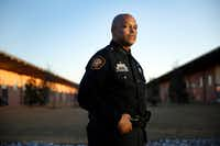 Fort Worth Police Chief Joel Fitzgerald poses for a photo outside his office at the Bob Bolen Public Safety Complex in Fort Worth, Thursday, January 19, 2017.  (Tom Fox/The Dallas Morning News)(Staff Photographer)