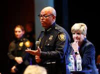 Fort Worth Police Chief Joel Fitzgerald and Mayor Betsy Price answer questions at a community meeting with Fort Worth city and police leaders on Thursday, Jan. 12, 2017 at Christ Church. (Rodger Mallison/Fort Worth Star-Telegram/TNS)(TNS)