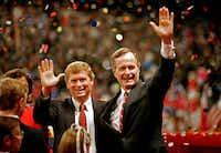 Bush and his vice presidential running mate, Sen. Dan Quayle, R-Ind., celebrated after Bush's nomination for president at the Republican National Convention in New Orleans in August 1988.(J. Scott Applewhite/Associated Press)