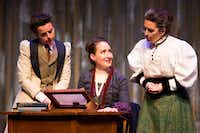 Anastasia Munoz as Henrietta Leavitt (seated), with Marianna Galloway as Annie Cannon (left)  and Shannon J. McGrann as Williamina Fleming, performs in a WaterTower Theatre production of <i>Silent Sky</i> in Addison.&nbsp;((Smiley N Pool/Staff Photographer))