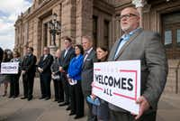 Brad Kent, chief sales and services officer for Visit Dallas, attended a news conference at the Capitol in Austin to oppose Lt. Gov. Dan Patrick's bathroom bill last month. (Jay Janner/Austin American-Statesman)