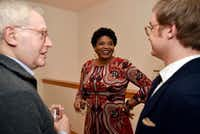"Dallas author Sanderia Faye speaks with Hughes Professor of English at Southern Methodist University, Willard Spiegelman (left) and writer Ryden Anderson  during a WordSpace Dallas Salon. (<p><span style=""font-size: 1em; background-color: rgb(255, 255, 255);"">(</span><span style=""font-size: 1em; background-color: transparent;"">Ben Torres/Special Contributor)</span><br></p><p></p>)"