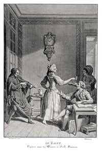 Vintage engraving of a woman having the laces of her corest tightened by a priest, France 1795(duncan1890/Getty Images/iStockphoto)
