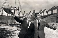 Circa 1979 - Mayor Folsom, (right) with NBA commissioner Larry O'Brien on the site of Reunion Arena.(DMN file photo)