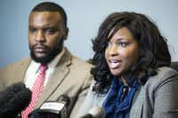 Attorneys Jasmine Crockett (front) and Lee Merritt, who represent Jacqueline Craig, hold a press conference at their offices on Thursday, Jan. 26, 2017, in Dallas.(Smiley N. Pool/Staff Photographer)