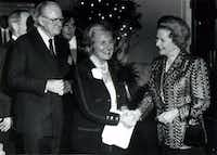 In 1993, Moss and former Mayor Annette Strauss greeted former British  Prime Minister Margaret Thatcher during a reception at Southern Methodist University. (File Photo/Staff)