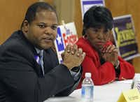 Then-Texas District 100 House candidates Eric Johnson (left) and Terri Hodge debated at a forum. (2010 File Photo/Staff)