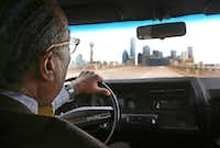 Dallas County Commissioner John Wiley Price drives back to downtown Dallas in one of his vintage collectable cars after revisiting his childhood home in Forney, Texas, photographed on Friday, December 30, 2016. (Louis DeLuca/The Dallas Morning News)