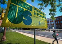"An ""It's On Us"" campaign sign was placed across Martin Residence Hall on the Baylor University campus in Waco on May 3, 2016. ((Jae S. Lee/Staff Photographer))"