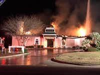 A photo of the Victoria mosque on fire this weekend.(Facebook)