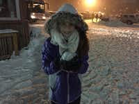 Maddy Pitluk, 10, prepares to tattoo her dad with a snowball.((Adam Pitluk))