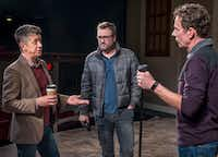 """Director Joel Ferrell (left) works with actors Steven Michael Walters and Chamblee Ferguson before the dress rehearsal of """"The Christians"""" at the Kalita Humphreys Theater in Dallas, Wednesday, Jan. 25, 2017.((Ron Heflin/Special Contributor))"""