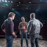 Director Joel Ferrell (center) works with actors Chamblee Ferguson (left) and Steven Michael Walters before the dress rehearsal of <i>The Christians</i> at the Kalita Humphreys Theater in on, Jan. 25, 2017.(Ron Heflin/Special Contributor)