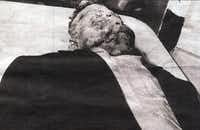 This handout photo received 05 May 2005 shows the body of 14-year-old Emmett Till, a black youth killed in 1955 in Mississippi reportedly after he whistled at a white woman. His body will be exhumed in coming weeks for an autopsy, court sources said 05 May 2005.AFP/Getty Images
