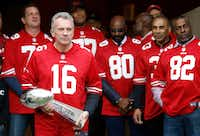 Ten couples paid $18,000 each to dine last year with Super Bowl legend Joe Montana. (AP Photo/Tony Avelar, File)