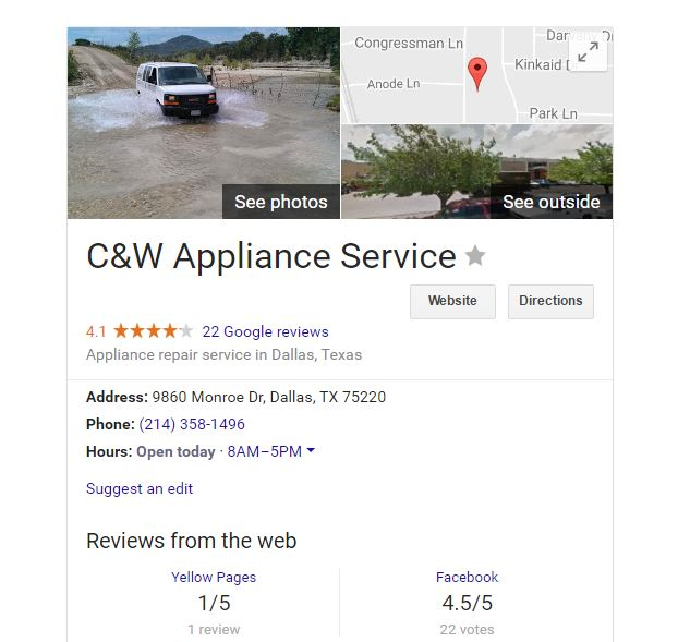 Woman clicks on Google appliance repair listing, unknowingly