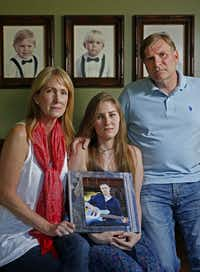 Pam Crews (left), with her husband, John Crews, and their daughter Dani, seeks answers about her son's death. (Jae S. Lee/Staff Photographer)(<br>)