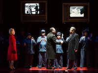 Andrianna Chuchma a  Pat Nixon; Scott Hendricks as Richard Nixon; and Chen-Ye Yuan as Zhou Enlai in the  Houston Grand Opera production of<i> Nixon in China</i>.