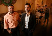 """Marc Mansour (left) and Chaouki """"C.K."""" Khoury opened Zatar Lebanese Tapas and Bar in Deep Ellum in December. Both men, naturalized citizens who immigrated from Lebanon, say they would not have done so in the current climate.((Rose Baca/Staff Photographer))"""