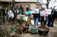 West Dallas tenants of HMK Ltd. address a news conference Thursday about their eight-point plan for housing. They say their voices must be heard in the public debate on gentrification. (Rose Baca/The Dallas Morning News)