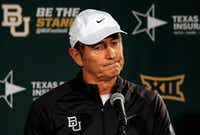"Baylor head coach Art Briles shrugs his shoulders as meets with the media on Sunday, December 7, 2014 in Waco, Texas. (<p><span style=""font-size: 1em; background-color: transparent;"">(G.J. McCarthy/The Dallas Morning News)</span></p><p></p>)"
