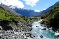 From the Rob Roy Track, hikers can glimpse Mount Aspiring behind the Matukituki River.(Sheryl Jean)