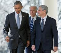 In this photo taken March 16, 2016, Federal appeals court judge Merrick Garland arrives with President Barack Obama and Vice President Joe Biden to be introduced as Obama'€™s nominee for the Supreme Court, during an announcement in the Rose Garden of the White House, in Washington. Garland, has been characterized as a moderate who, if confirmed, would nudge his divided colleagues slightly to the left because he would replace conservative stalwart Antonin Scalia. (AP Photo/Andrew Harnik, File)(AP)