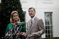 Dallas Rep. Jeb Hensarling (right), a Republican and chairman of the House Financial Services Committee, right, speaks about President Donald Trump's executive order as Missouri Rep. Ann Wagner listens. (Andrew Harrer/Bloomberg)