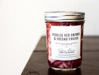 Pickled red onions from Patina Green in McKinney are perfect for a charcuterie board.((Rebecca White))